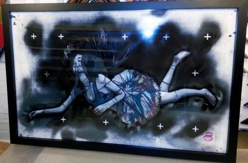 falling girl stencil framed