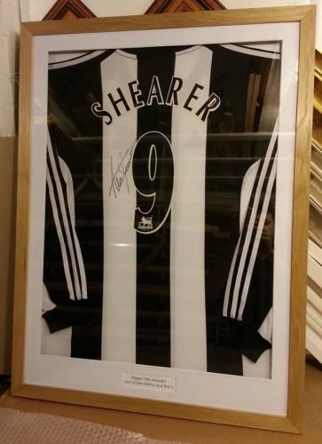 Shearer Signed Shirt with Solid Oak Frame