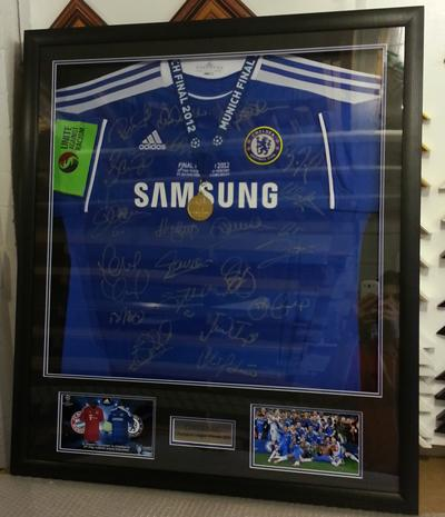 Signed Chelsea shirt framed with medal - photos -armband with double mount