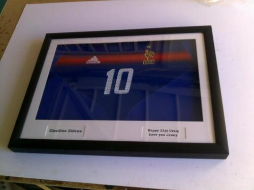 Signed Zinedine Zidane Shirt Framed at Anything Framed